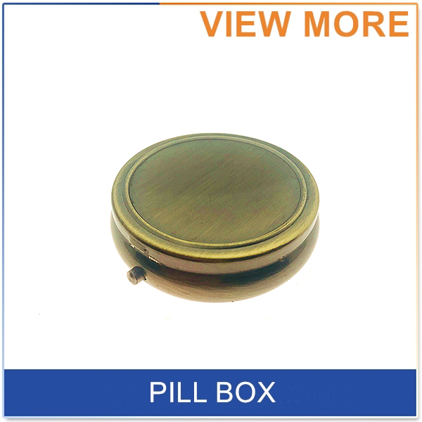 2018 Promotion Souvenir Gift, Metal Round Shape 3 Compartments Small Portable Pocket Travel Pill Box With Mirror
