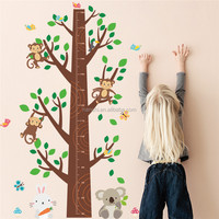 monkey tree height wall stickers for kids children room living room children room waterproof kids height measure wall decals