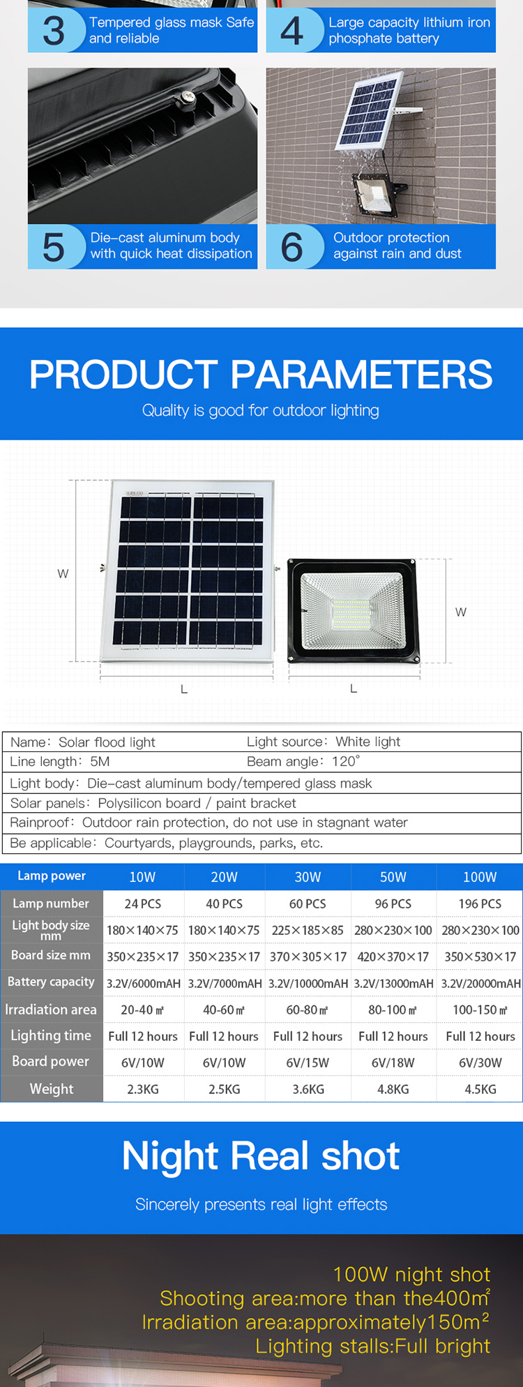 High quality ip65 basketball tennis court 10w 20w 30w 50w 100w led solar flood light