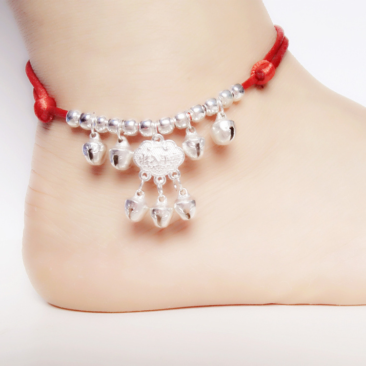 Red rope bells long life lock anklet