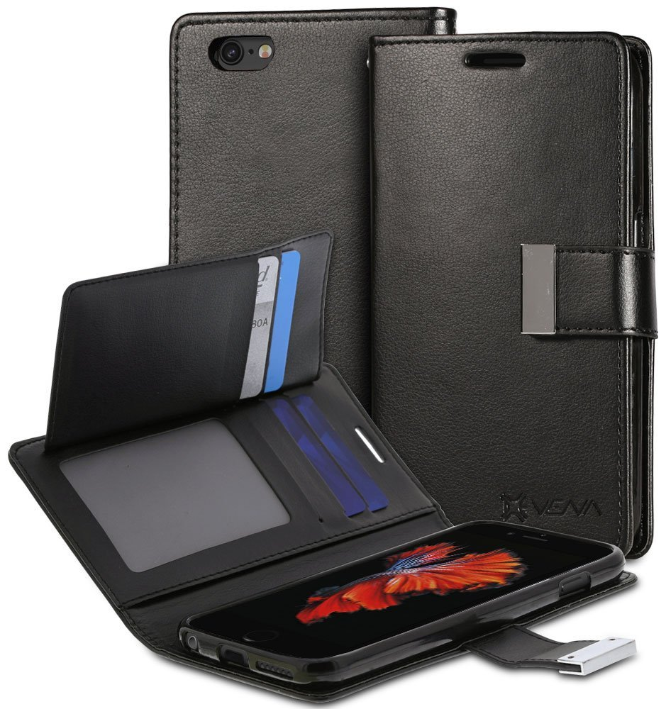 """iPhone 6S Plus Wallet Case - VENA [vDiary] Slim Tri-Fold Leather Wallet Case with Stand Flip Cover for Apple iPhone 6S Plus / iPhone 6 Plus (5.5"""") - Black"""