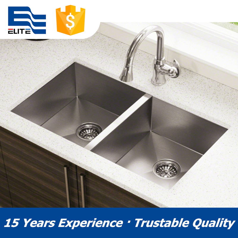 SUS304 undermount kitchen sinks stainless steel of dual bowl
