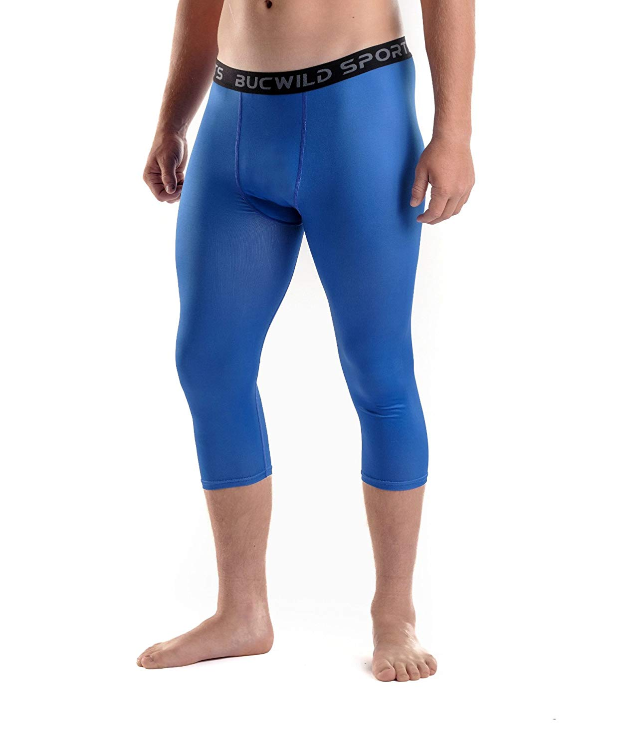 93aa22bda9 Get Quotations · Bucwild Sports 3/4 Basketball Compression Pants Tights for  Youth Boys & Men by