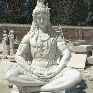 High Quality Life Size White Marble Lord Shiva Statue Indian God Sculpture