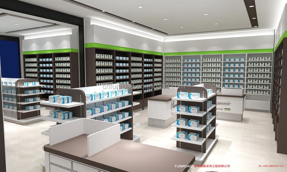 Pharmacy store cosmetic shelf medical store counter design