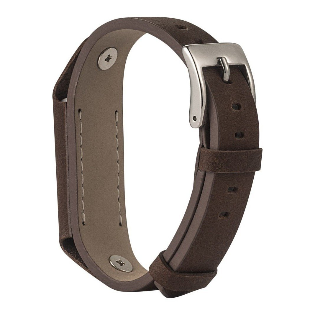 For Fitbit Flex 2 Strap Leather Band, Rosa Schleife Fitbit Fitness Wristband Leather Smart Watch Adjustable Replacement Wrist Band Strap Clasp Link Bracelet Buckle for 2016 Fitbit Flex 2 - Dark Brown