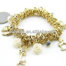 wholesale 2014 fashion gold plated jewelry, new style multi charms braclet for women