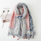 Wholesale 2019 fashion ladies head scarf hijabs top sale amazon colorful cotton voile cashew print tassel women vintage scarf