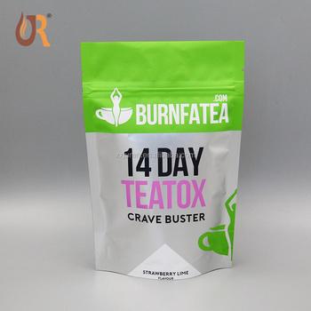 Heat Seal Custom Printed Plastic Empty Green Coffee Tea Bag