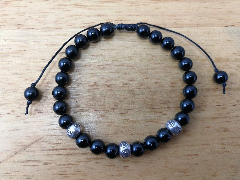 6 mm,Black Tourmaline Bracelet,tourmaline bracelet,Healing Stones For Protection,Chakra Bracelet,Yoga bracelet,Mala bracelet,Ohm bracelet - size 6.5,7.,7.5,8,8.5 inches