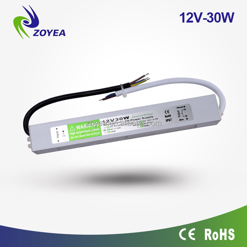 30w power supply 24vdc IP67 constant voltage led driver 230v 12V dc led power supply for outdoor led lighting