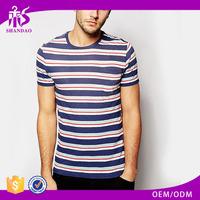 2016 OEM factory 160g 97% cotton 3% spandex yarn dyed O-neck short sleeve stripe tee t shirt