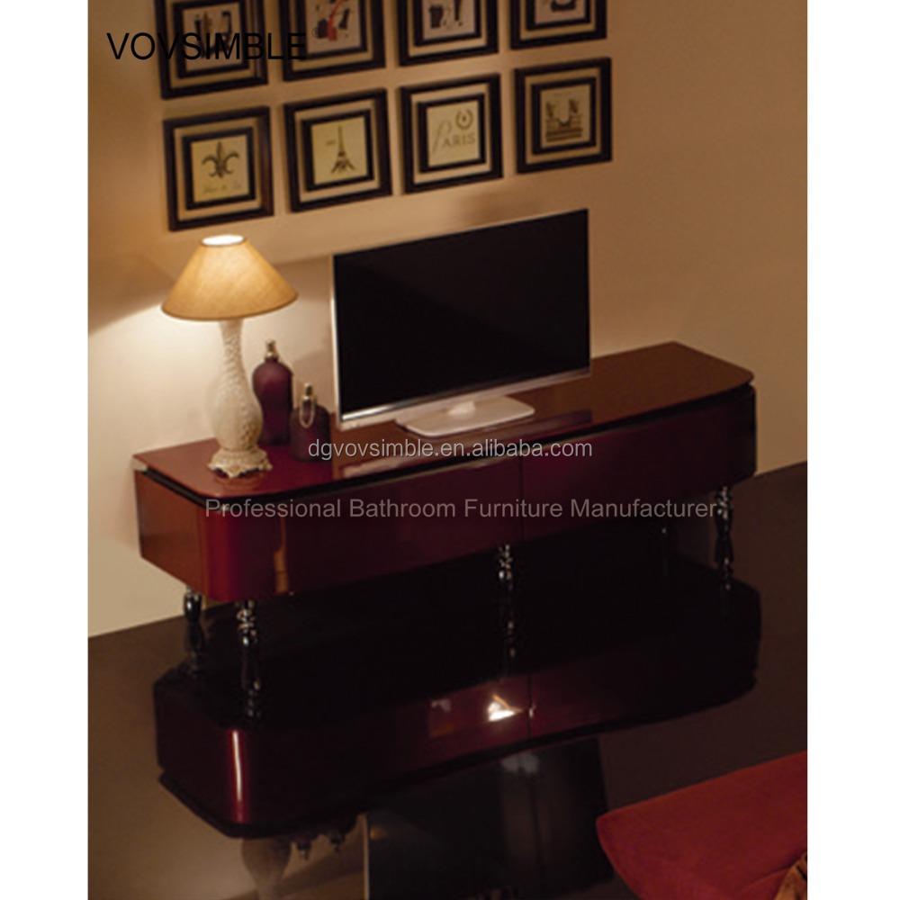 H Tel De Luxe Meuble T L Debout De Plancher Solide Tv En Bois  # Armoire Pour Tv