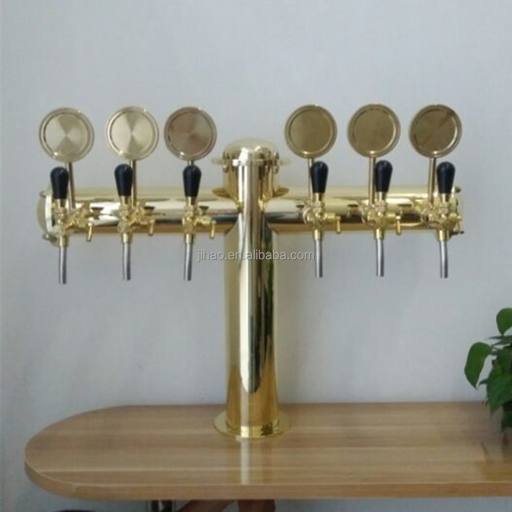 6 tap beer tower dispenser with medallions flow control faucets