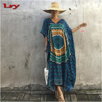 2017 New arrival women print batwing sleeve Thailand Indonesia kaftan dress for beach holiday