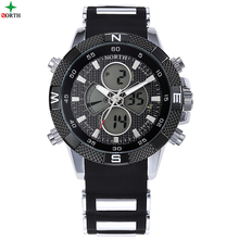 North 6013 men LED Digital 및 Quartz 패션 Alarm Date 주 Wrist Watch