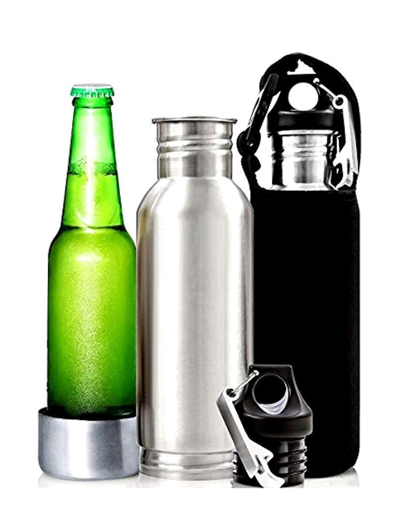 The Bottle Insulator, Beer Bottle Cooler & Bottle Holder - This 2 Pack, 12 oz Stainless Steel Bottle Insulator includes 2 bottle openers, 2 black sleeves & a carabiner by Van & Co.