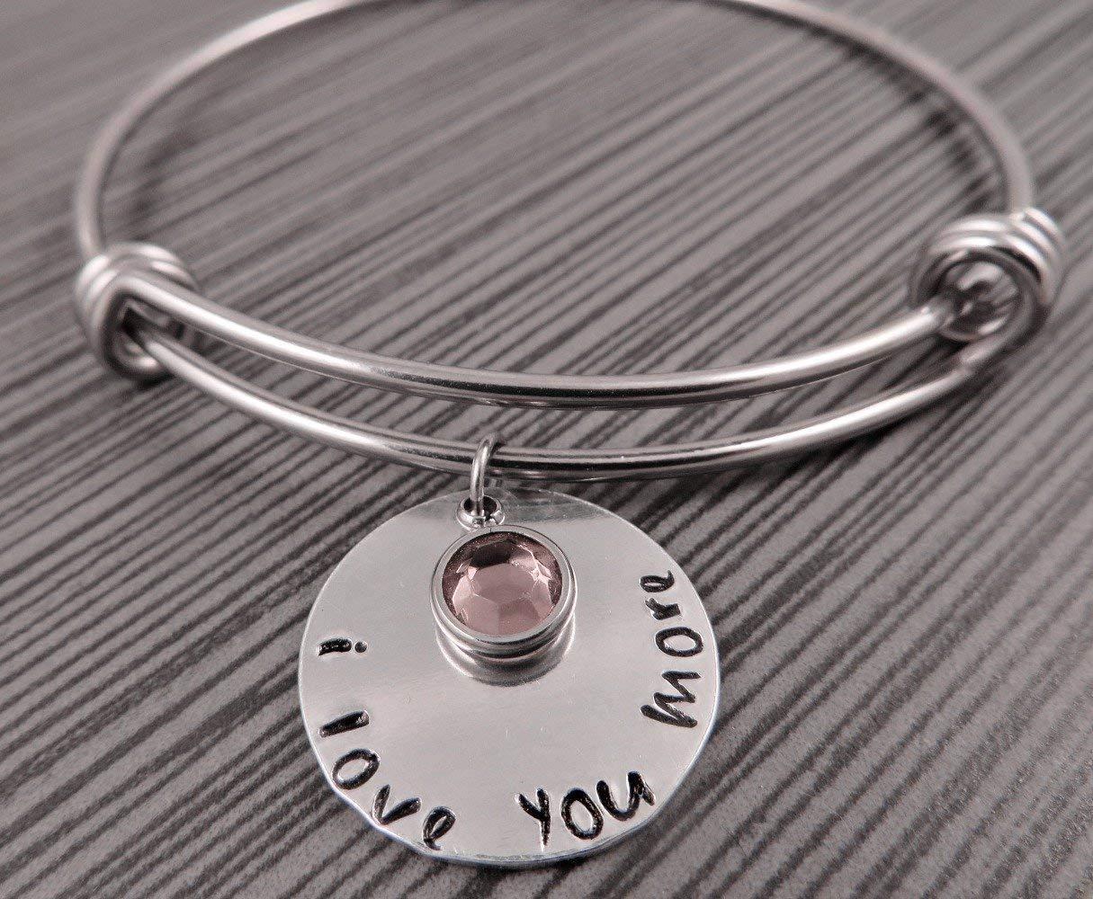 I Love You More Charm Bracelet/Adjustable Wire Bangle/Hand Stamped Charm Bracelet/Valentine's Gift