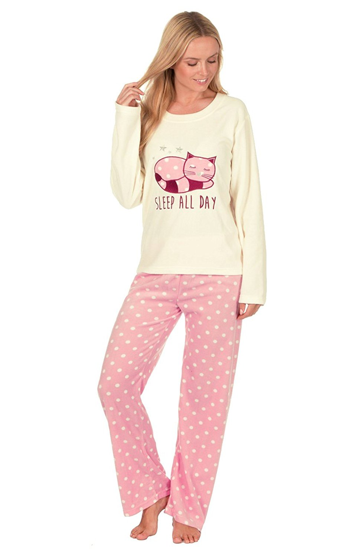 c853c2b694 Get Quotations · Ladies Animal Design Novelty Thermal Fleece Pyjama Set