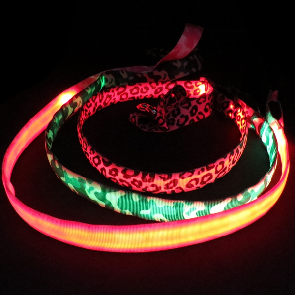Camouflage Printing Nylon Material Dog Leash Glow in Dark for Pet Safety Rechargeable System