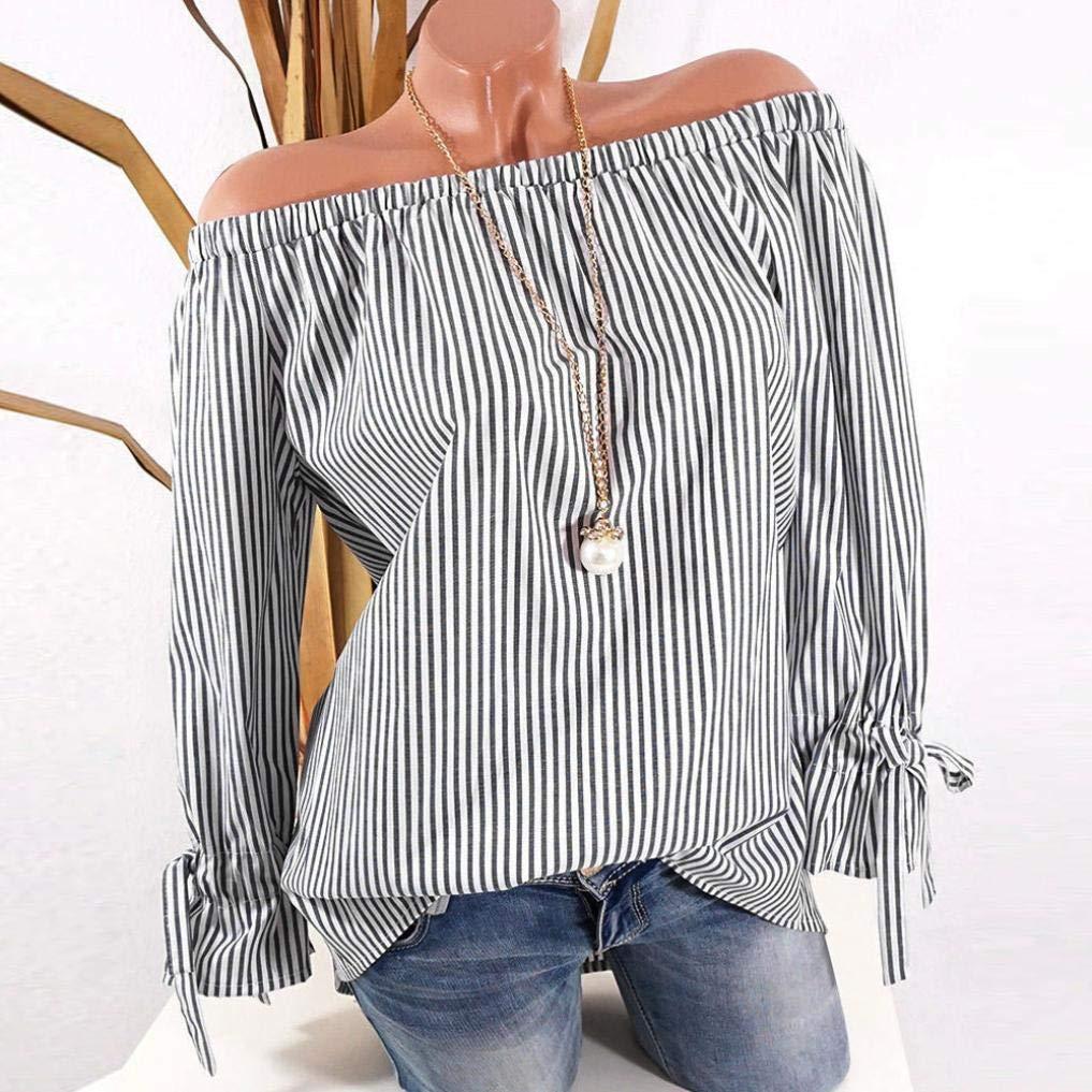 1143a03af3 Get Quotations · Women Blouse Daoroka Ladies Plus Size Long Sleeve Off  Shoulder Stripe Tops Sexy Cute Fashion Autumn