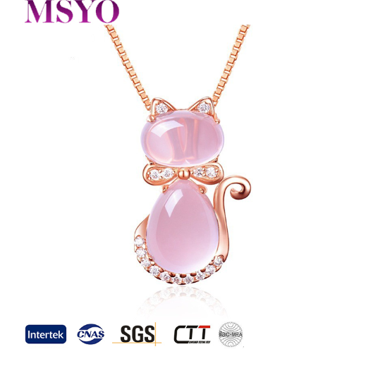 MSYO brand cat necklace rose gold charm AAA zircon animal pendant cat jewelry necklace