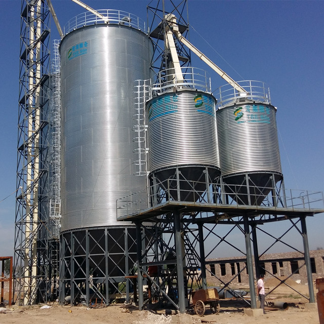 Shandong supply hopper bottom chicken feeding storage steel silo for sale