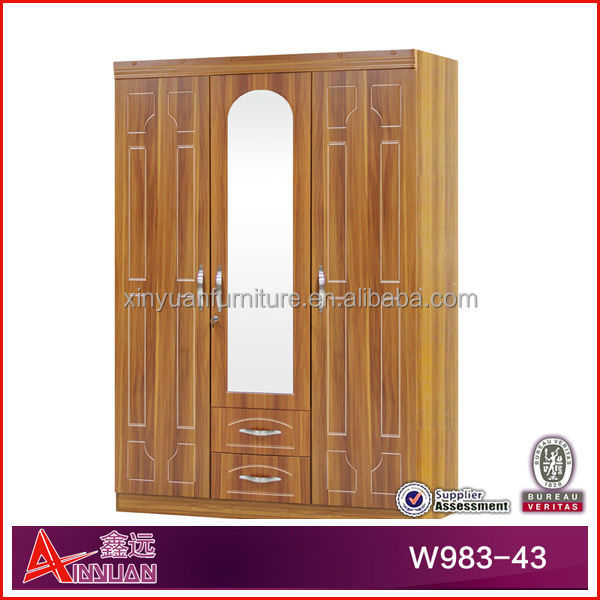W98343 China Wooden Furniture Almirah Designs Solid Wood Almirah