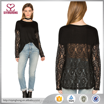 2017 The Latest Long Lace Sleeve Back Lace Design Sexy Women ...
