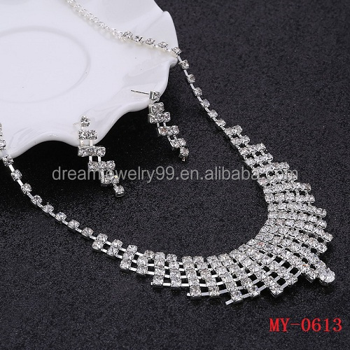 2 pcs Silver Crystal Wedding Jewelry Sets African Beads Necklace Earrings Sets Wedding Accessories Hot Selling