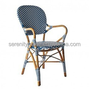 China Hand-made Blue Wicker Rattan Chair with Curve Aluminium Arm