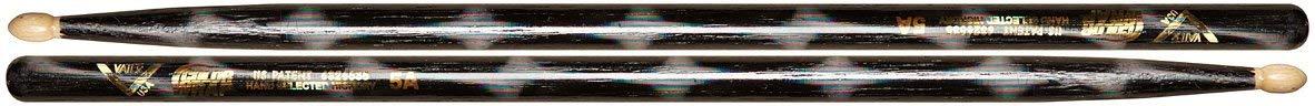 Vater Percussion Color Wrap 5A Drumsticks, Black Optic, Wood Tip