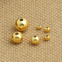 wholesale gold / silver plated 5mm 6mm 8mm stainless steel metal solid round bead for bracelet necklace jewelry