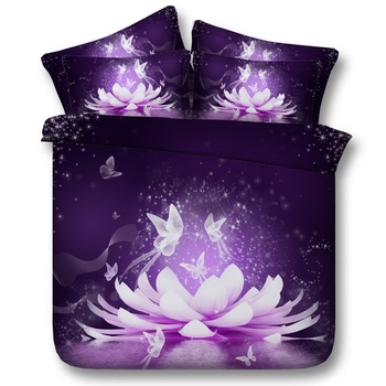 Magical Purple Lotus Blossom Flower And Butterflies Hd 3d