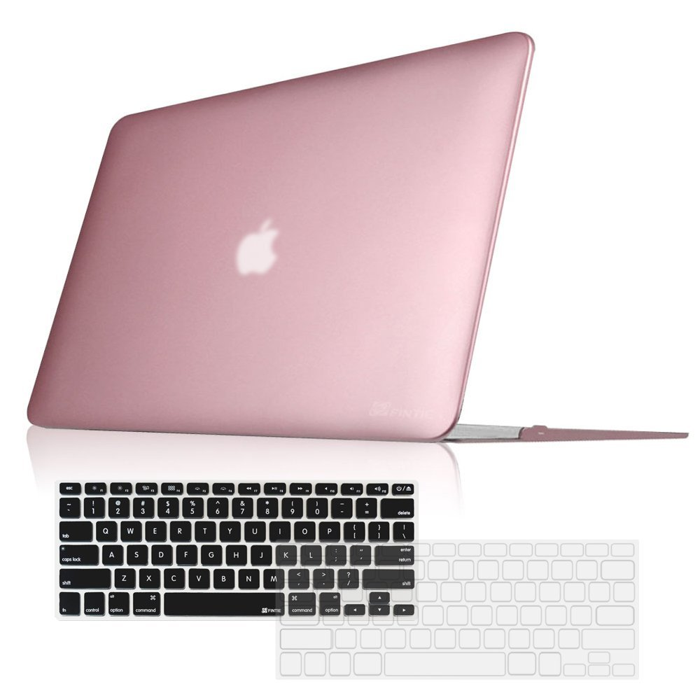 "Fintie MacBook Air 13 Inch Snap On Hard Case + [2-Pack] Keyboard Cover (Black/Clear) - 3 in 1 Combo for MacBook Air 13.3"" (A1466 / A1369), Rose Gold"