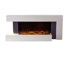 Modern wood decorative wall heater, insert LED flame hanging remote control electric fireplace