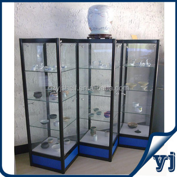 Commercial Glass Tower Display Case/corner Display Cabinet With Glass  Shutters/lockable Storage Cabinets