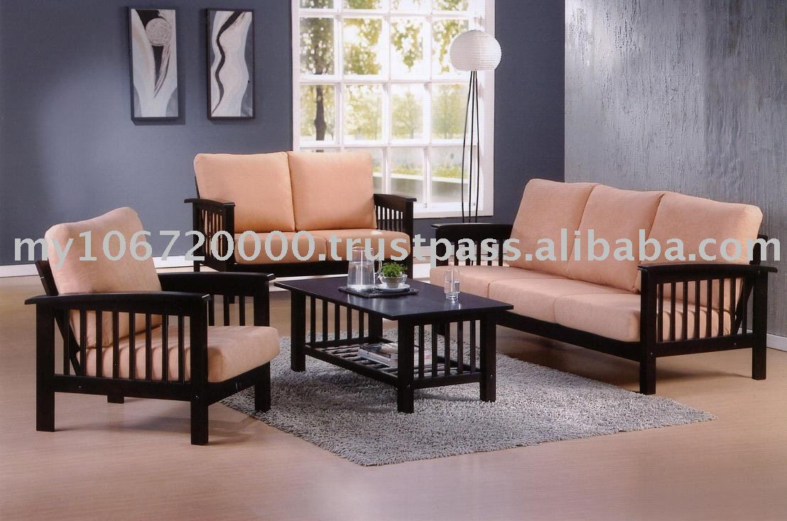 Domenech Sofa 9908 Wooden Sofa Set Sofa Set Living Room  ~ Wooden Sofa Sets For Living Room