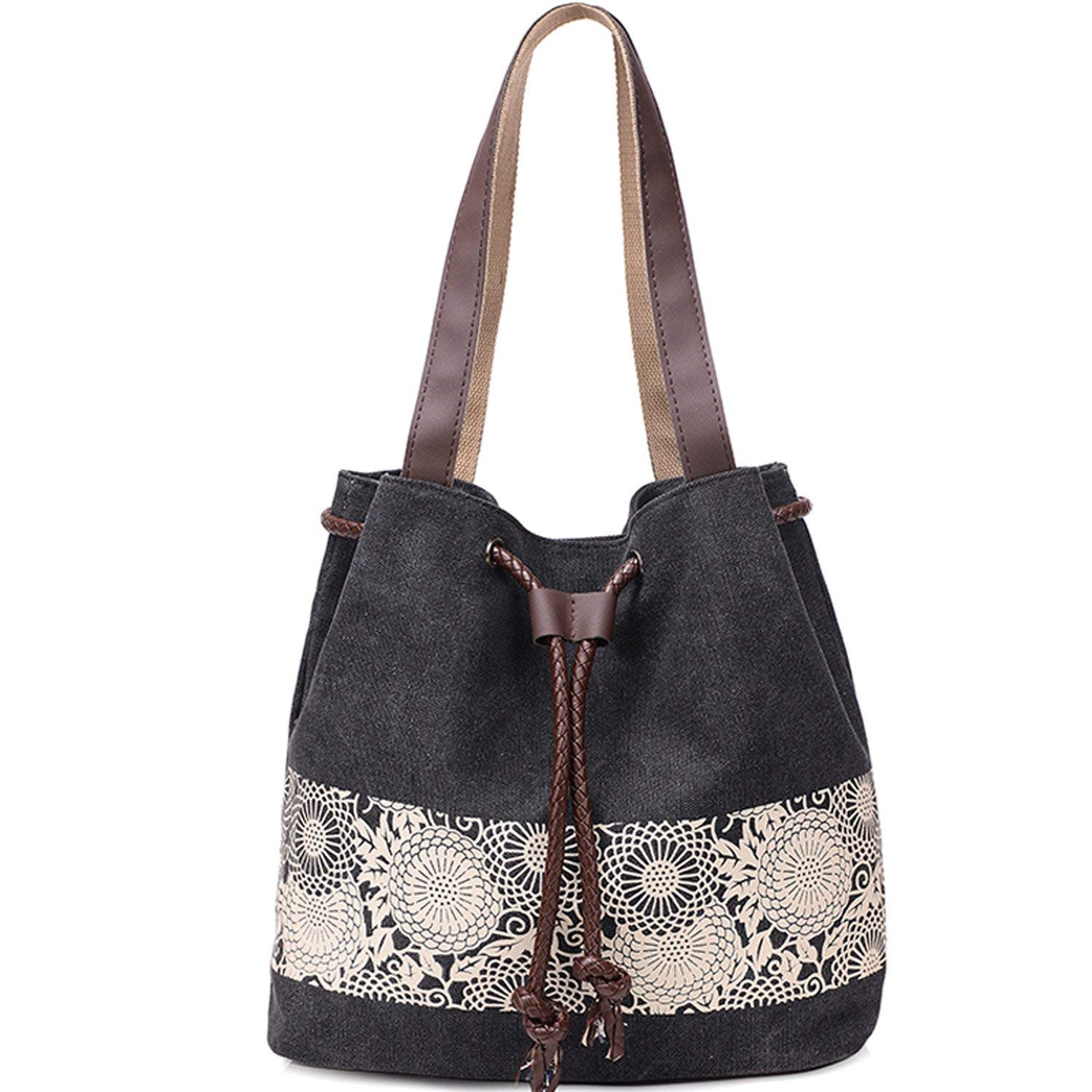 Canvas Tote Bag Casual Handbag Retro Printing Shoulder Bag For Women Girls Ladies Beach School Travel Bag Roomy Purse