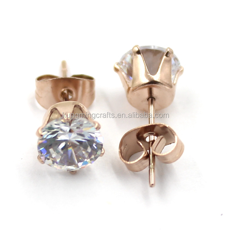 Factory Price Rose Gold Stainless Steel Crystal Earrings Studs With High Quality CZ Stones