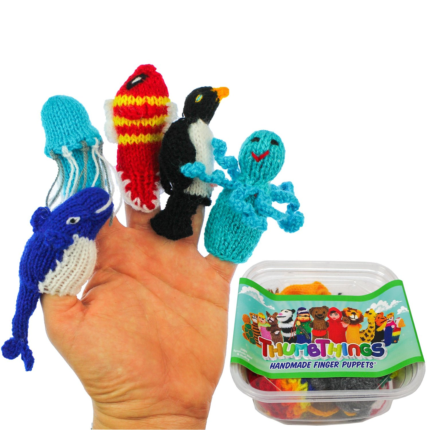 ThumbThings Handmade Finger Puppets Set of 5: Blue Whale, Jellyfish, Clown Fish, Penguin, Octopus