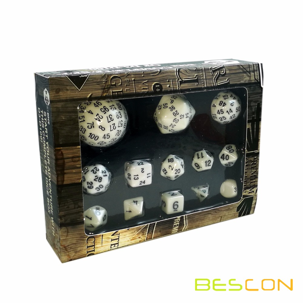Bescon Complete Polyhedral Dice Set 13pcs D3-D100, 100 Sides Dice Set Opaque White фото