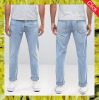 New cotton denim regular rise slim jeans in light wash for men