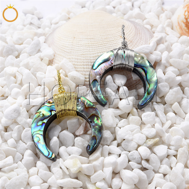 SPD205 Abalone Shell Pendant Beach Jewelry Bohemian Ocean Theme Gifts Crescert Horn Design