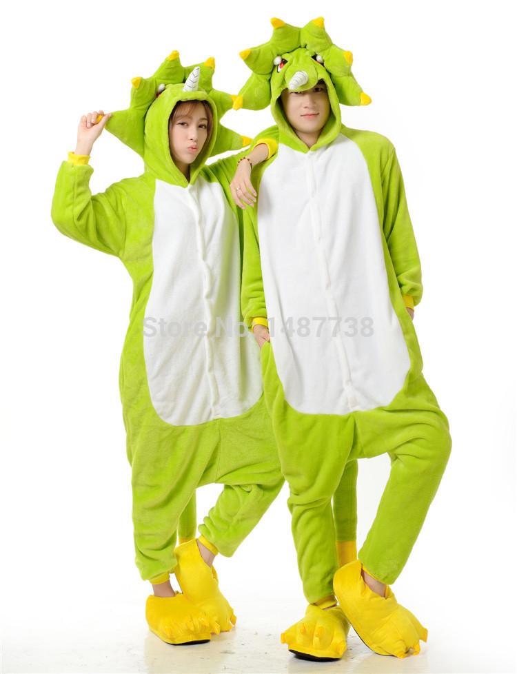 Green Monster Pajamas Onesie Costume Cosplay Animal Hooded Sleepwear for  Women Men 36522a9d8573