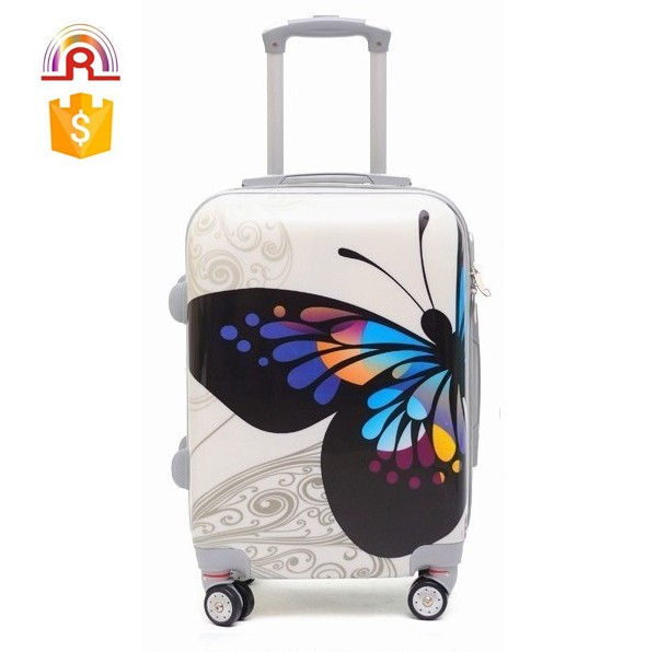 "ABS PC Print suitcase 20"" 24"" 28"" travel shopping luggage airport carry on bag"
