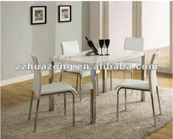 Charisma White Gloss Chrome Living Room Furniture Dining Table And 4 Chairs Set Lucite Cream Colored