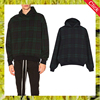 Fashion custom green plaid french terry cotton-jersey hoodie men casual oversized checked jumper hooded sweatshirts