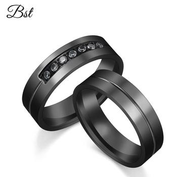 2019 New Arrival High Quality Forever Love Diamond Ring Black Titanium Steel Couple Rings