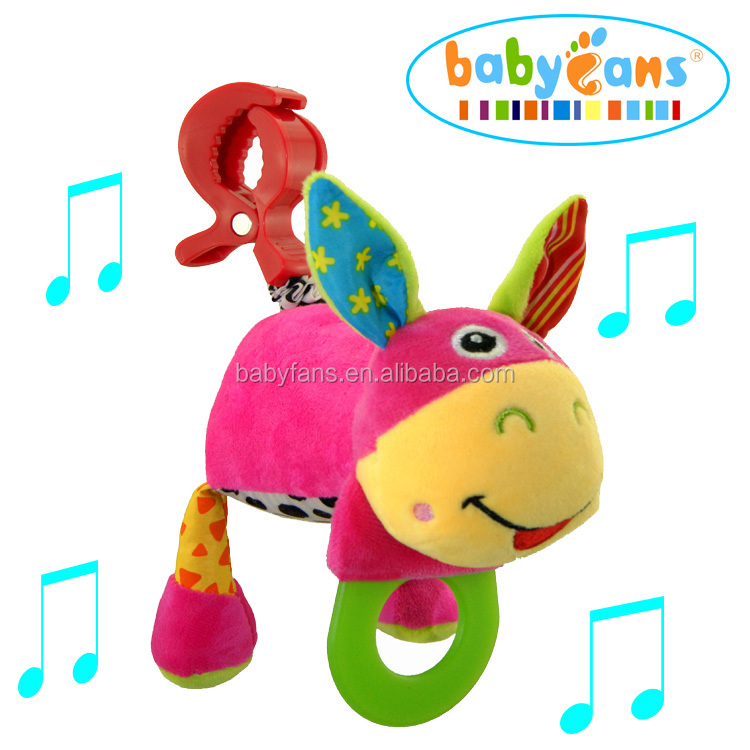 Plush toy with musical pull string teether donkey animal toy strollers